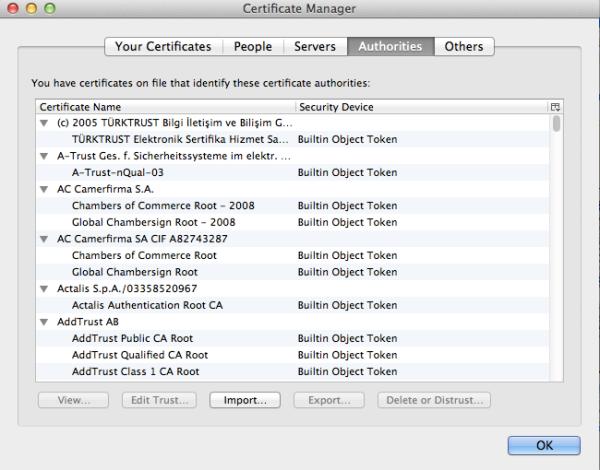 Firefox Certificate List