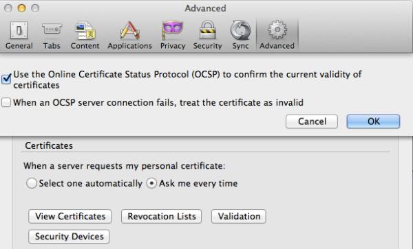 Firefox OCSP setting